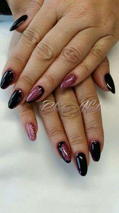 Mandorla nero e rosa glitter
