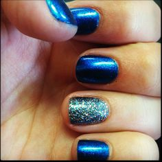 My nails today. OPI Swimsuit Nailed It & Glitter. In love with this blue