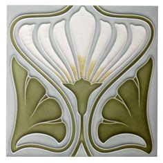 Decorative Ceramic tile X inches, Illustration Vintage art nouveau Fleurs Art Nouveau, Motifs Art Nouveau, Azulejos Art Nouveau, Design Art Nouveau, Motif Art Deco, Art Nouveau Pattern, Art Deco Wall Art, Art Art, Decorative Wall Tiles