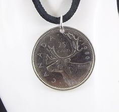 Caribou Coin Necklace Canadian 25 Cents Coin by AutumnWindsJewelry