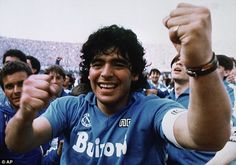 Diego Maradona had a wild smile after helping Napoli clinch the Serie A title in 1987