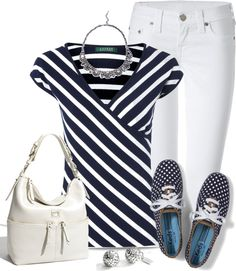 """Stripes & Dots Duex"" by justjules2332 ❤ liked on Polyvore"