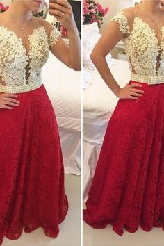 Red Prom Dresses,Charming Evening Dress,White Prom Gowns,Lace Prom Dresses,2016 New Prom Gowns,Red Evening Gown,Backless Party Dresses