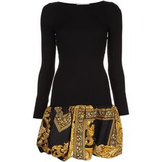 Moschino bubble hem dress ($1,605) ❤ liked on Polyvore featuring dresses, black, long sleeve short dress, pattern dress, print dress, moschino dress and round neck dress
