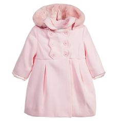 Baby Girls Pink Classic Coat with Hood, Mayoral, Girl