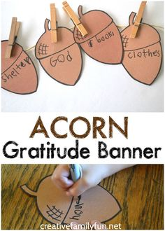 Gratitude Banner Craft for Kids - This simple Acorn Gratitude Banner craft for kids is a great Thanksgiving craft to help you reflect on all that you are thankful for. -Acorn Gratitude Banner Craft for Ki. Bible Crafts For Kids, Thanksgiving Crafts For Kids, Thanksgiving Activities, Halloween Crafts For Kids, Preschool Crafts, Thanksgiving Religious Crafts, Thanksgiving Cookies, Thanksgiving Table, Thanksgiving Decorations