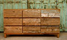 Chest made from reclaimed Balinese fishing boats.    sharland and lewis