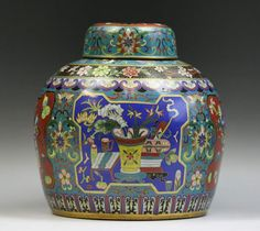 A Chinese Antique Cloisonne Bronze Jar W Cover: finely enamelled around the body and cover with the design of stationery and bibelot in ancient studies amid scrolling vines and blossoms, with four character 'Qianlong' inscribed on the base and probably of late Qing Dynasty