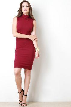 Turtle Neck Sleeveless Bodycon Dress – Style Lavish