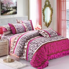 62 Types 4PCS Bedding Set Red Floral Reactive Printing quilt cover comforter cover set bedclothes