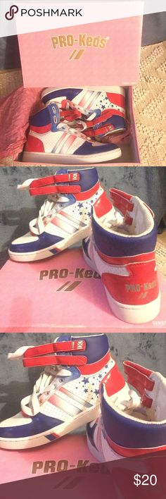 Pro Keds high top Sneakers Cute red white & blue Royal Aristocrat True Red worn twice bottoms of the shoes are the only dirty part of entire shoe Keds Shoes Sneakers