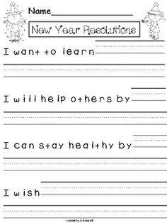 Create a New Year& Resolutions Class Book or simple display your students hopes and dreams for the New Year. Several writing prompts are included as well as primary and secondary lined paper to best meet the needs of your students. Kindergarten Art Activities, Kindergarten Activities, Learning Activities, Learning Time, Kids Writing, Teaching Writing, Writing Ideas, Teaching Ideas, First Grade