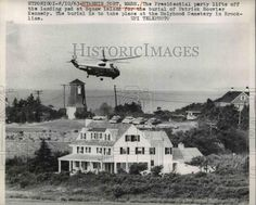 Presidential helicopter over the Kennedy compound in Hyannis Port