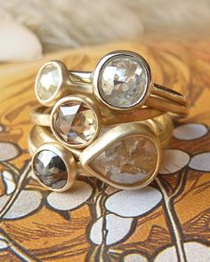 Fancy Rose Cut Diamond Ring  Deposit by kateszabone on Etsy, $300.00