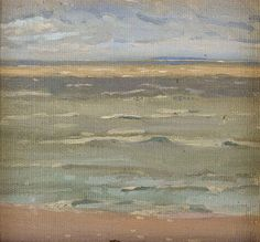"""Lake Winnipeg,"" attributed to Lionel Lemoine Fitzgerald, oil on board, 6 3/8 x 7"", private collection."