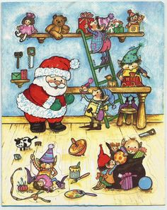 Stickers Vintage 1 sheet Gibson Santa & Elves in Toy Worshop Scene    A1-25 #Gibson #Stickers