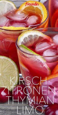 Mocktails für den Sommer: Kirsch-Zitronenthymian-Limo
