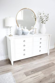 Bright White Entry - Coastal Glam Style - Summer Adams Welcome to the bright white entry of our home! See what fabulous pieces I've found to create the coastal glam style I wanted. Glam Style, Bedroom Dressers, White Dressers, Ikea Dresser, White Bedroom, White Decor, Home Decor Styles, Room Decor Bedroom, Furniture Makeover