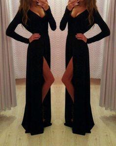 Sexy Prom Dress,V-Neck Prom Dress,Long Sleeve Prom Dress,Sheath Prom Dress,15040133