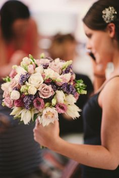 Antique Roses and Lavender Wedding Bouquet ~ Rose and Josh's Rustic Spring Wedding