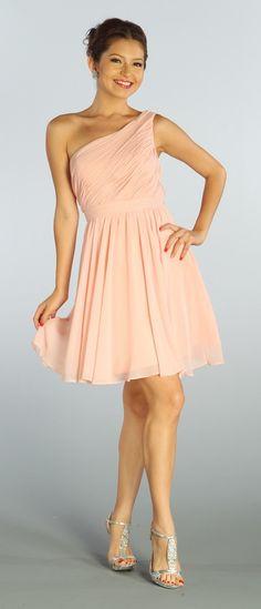 One Shoulder Chiffon Short Blush Bridesmaid Dress Ruched Bodice$107.99