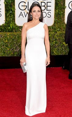 Julia Louis-Dreyfus looks wonderful in white. This Narciso Rodriguez dress is perfect for her petite frame!