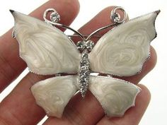 #6: Hand Paint Pearlescent Enamel Wing Czech Crystal Rhinestone Butterfly Pin Brooch.