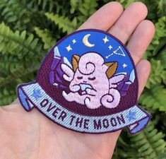 Over the moon ♡ patch – Sugarbones Cute Patches, Pin And Patches, Iron On Patches, Jacket Patches, Fashion Girl Power, Cute Pins, Over The Moon, Pin Collection, Scrappy Quilts