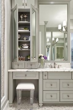 Navy Blue Could we do something like this on the right of master bath?