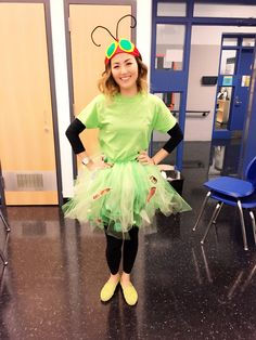 Very hungry caterpillar for book character day. Made tutu, hot glued all of the food, and for the headband cut our felt and hot glued it. Done :)