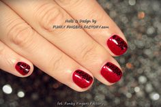 Gelish Red Glitter and Black Flowers nails by www.funkyfingersfactory.com