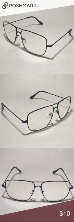 Black Rectangle Clear Lens Glasses 1 Pair of Rectangular Clear Lens Aviators    Black Frame    Clear Lenses    Rectangular Lenses    High Quality    100% UV Protection    Men or Women  1 Black Microfiber Pouch  Ships: Within 24 hours of purchase Mon-Sat. Orders on Sundays/Holidays ship next business day.  Shade ME 9042 Clear lens glasses Clear lens aviator Fashion glasses Accessories Sunglasses