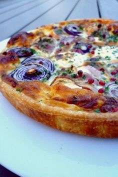 soft goat's cheese and red onion pie