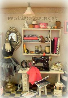Patricia Cruzat Artesania y Color: Cuarto Costura con miniaturas