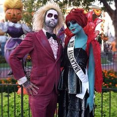 The Munsters as Beetle Juice & Miss Argentina. Awesome adult costume.