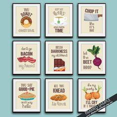 Funny Kitchen Song Series Set Of 9 Art By Kitchenbathprints Prints Canvas
