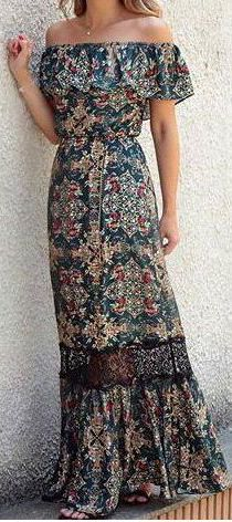 #summer #outfits / floral pattern print off the shoulder maxi dress