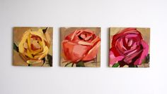 RoseTrio triptych grouping original floral oil painting by Angela Moulton three panels each 4 x 4 inches #prattcreekart