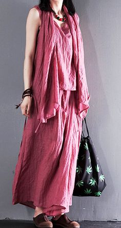 Pink summer linen clothing tops and skirt pants linen set three pieces