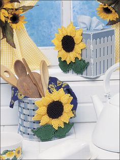 Cherry Sunflowers, Plastic canvas, tissue box cover