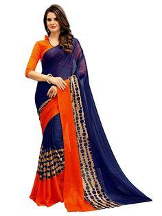 Cherry-Blue,Blue,Free Size Jaanvi fashion Womens Chiffon Saree with Blouse Piece