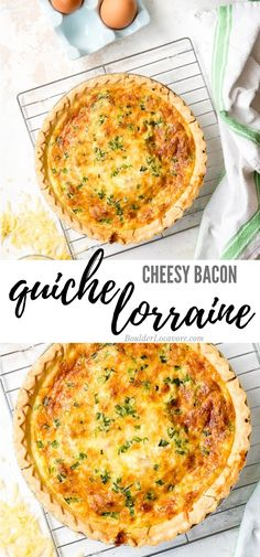 Quiche Lorraine is a classic cheesy bacon quiche perfect for brunch or dinner. E… Quiche Lorraine is a classic cheesy bacon quiche perfect for brunch or dinner. Easy to make, this mouthwatering main dish recipe is irresistible. Kevin Bacon, Breakfast Dishes, Breakfast Recipes, Breakfast Quiche, Bacon Breakfast, Bacon Quiche, Easy Quiche, Bacon Bacon, Frittata