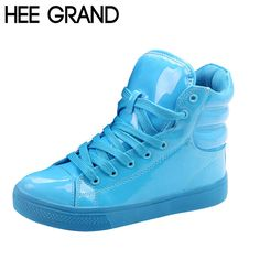 HEE GRAND Casual Shoes Woman Lighted Candy Color High-top Shoes Woman Fashion Shoes Flat Platform Student Shoes XWB001