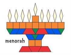 Jessica's Pattern Block Mats (Printables) Page 2 – Hanukkah Hanukkah Crafts, Jewish Crafts, Christmas Hanukkah, Preschool Christmas, Hannukah, Hanukkah Menorah, Kwanzaa, Pattern Block Templates, Pattern Blocks