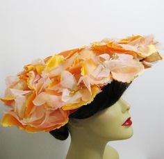 Vintage Hat Orange/Peach Flowered Sun Hat by FairSails on Etsy, $28.00