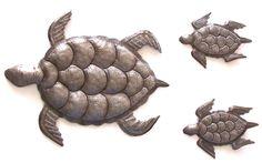 "Sea Turtles Wall Art, Ocean Art, Facing Left From Haiti Set of 3 Lg Turtle 12"" X 10"" Sm Turtles 5.5"" X 4"""