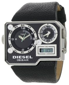 Diesel Men's Black SBA Analog-Digital Black and Silver Dial Watch Amazing Watches, Cool Watches, Watches For Men, Dream Watches, Wrist Watches, Men's Watches, Diesel Watch, Breitling Watches, Swag Style