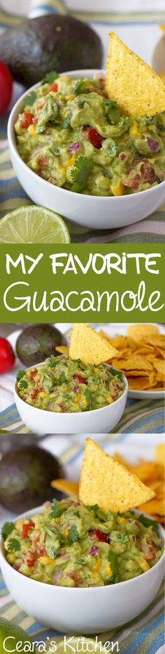 My favorite perfect guacamole! The addition of corn + a splash of hot sauce makes this guacamole simply perfect. Eat with tortilla chips or smother on a sandwich! Naturally #vegan #glutenfree + #healthy !!