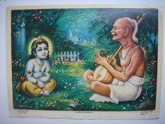Surdas depicted with Krishna Baby Krishna, Krishna Radha, Krishna Love, Lord Krishna, Indian Saints, Saints Of India, Krishna Pictures, Krishna Images, Bhagavata Purana