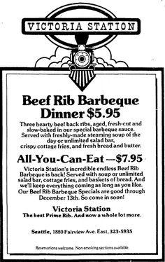Victoria Station Restaurant December 6th, 1981 #1981 #restaurants #ad #meat #beef #seattle #80s #victoriastation